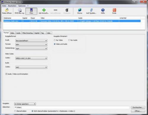 โปรแกรมแปลงไฟล์วีดีโอ เสียงออดิโอ XMedia Recode