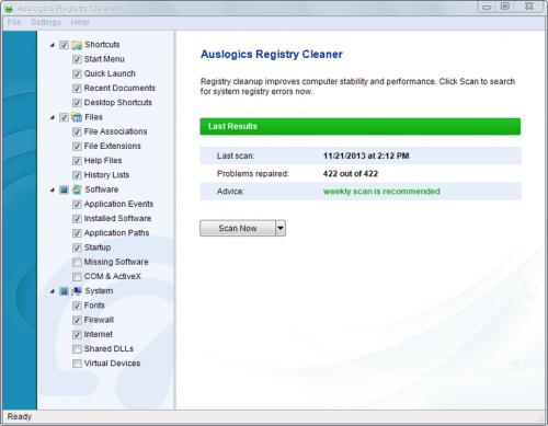 โปรแกรมทำความสะอาดไฟล์ Auslogics Registry Cleaner