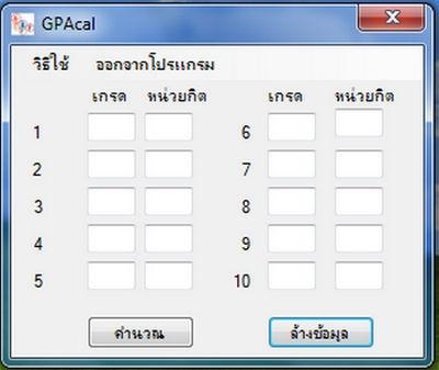 โปรแกรมคำนวณเกรดเฉลี่ย GPA Calculator