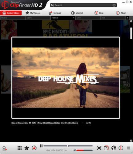 โปรแกรมดาวน์โหลดคลิป Ashampoo ClipFinder HD