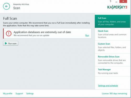 โปรแกรมสแกนไวรัส Kaspersky Antivirus