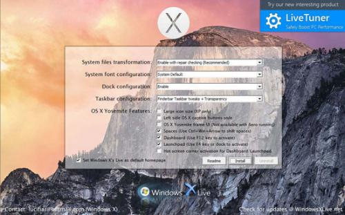 ดาวน์โหลดโปรแกรม Yosemite Transformation Pack