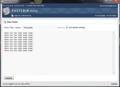โปรแกรมคลิปบอร์ดออนไลน์ Pastebin Desktop