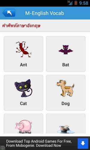App คำศัพท์อนุบาล M English Vocab