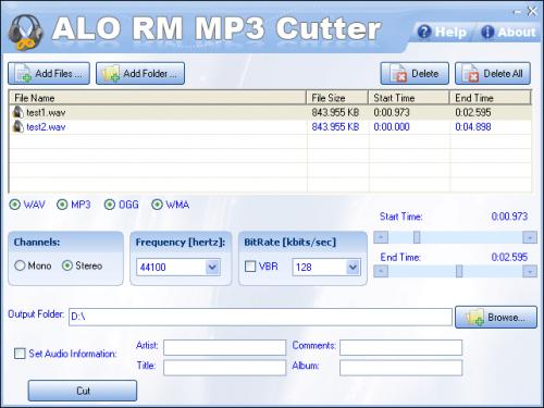 โปรแกรมตัดเพลง ALO RM MP3 Cutter