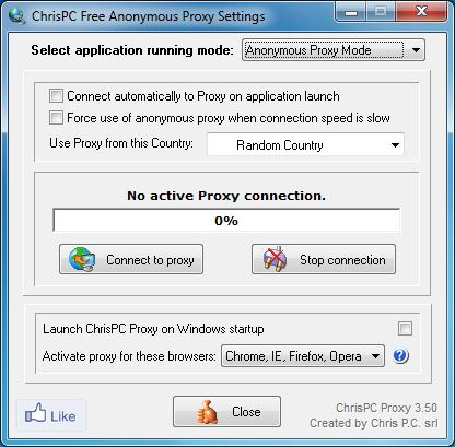 โปรแกรมเชื่อมต่อพร็อกซี่ ChrisPC Anonymous Proxy