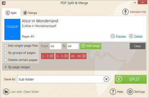โปรแกรมจัดการเอกสาร PDF Split and Merge