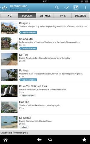 App คู่มือการเดินทาง ในประเทศไทย