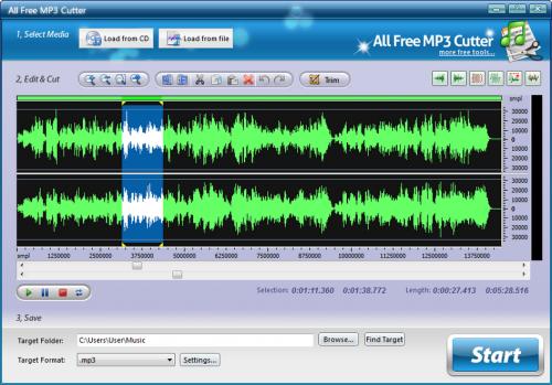 โปรแกรมตัดเพลง All Free MP3 Cutter