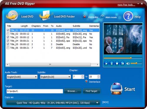 โปรแกรมแปลงไฟล์ All Free DVD Ripper