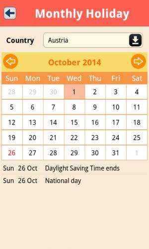 App ปฏิทินวันหยุด World Holidays