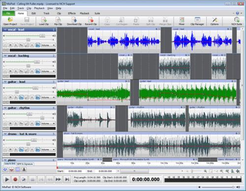 โปรแกรมมิกซ์เสียง แต่งเพลง ปรับแต่งเสียงMixPad Multitrack Recording