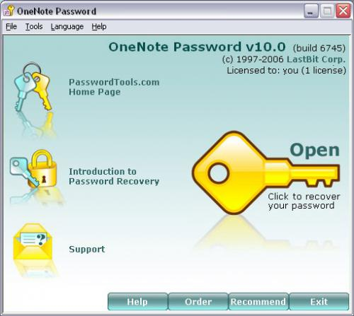 โปรแกรมกูรหัสผ่าน OneNote Password