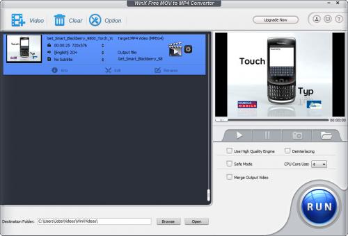 โปรแกรมแปลงไฟล์ WinX Free MOV to MP4 Converter