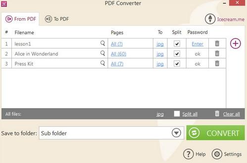 โปรแกรมแปลงไฟล์ Icecream PDF Converter