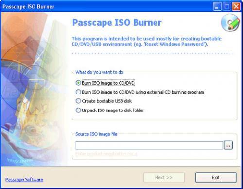 โปรแกรมไรท์แผ่นซีดี ดีวีดี จาก ไฟล์อิมเมจ Passcape ISO Burner
