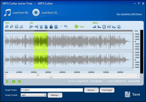 โปรแกรมทำริงโทน MP3 Cutter Joiner