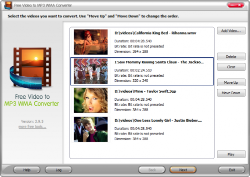 Free Video to MP3 WMA Converter :
