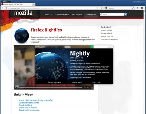 เว็บเบราว์เซอร์ Firefox Nightly
