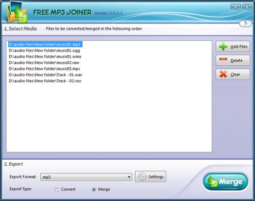 โปรแกรมรวมไฟล์ Free MP3 Joiner