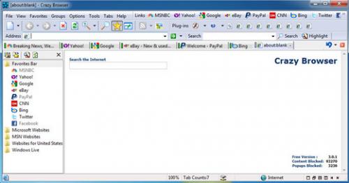 โปรแกรมเล่นอินเตอร์เน็ต Crazy Browser