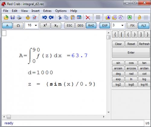 โปรแกรมเครื่องคิดเลข RedCrab The Calculator