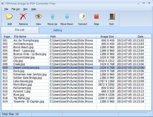 โปรแกรมแปลงไฟล์รูป Image to PDF Creator