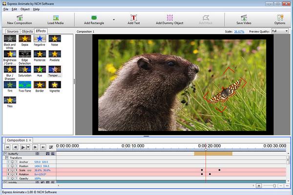 โปรแกรมสร้างอนิเมชั่นเพิ่มลูกเล่นให้วีดีโอ Express Animate