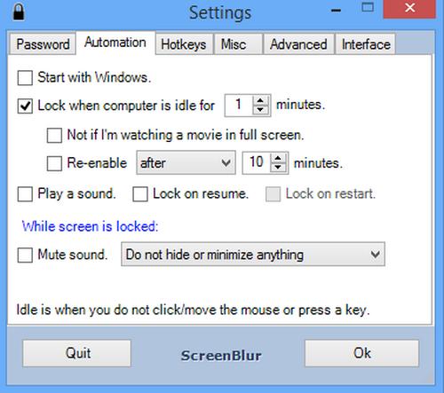 โปรแกรมล็อคหน้าจอ ScreenBlur
