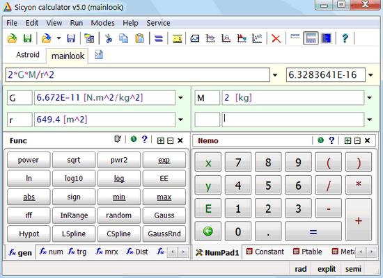 โปรแกรมเครื่องคิดเลขวิทยาศาสตร์ Sicyon Calculator
