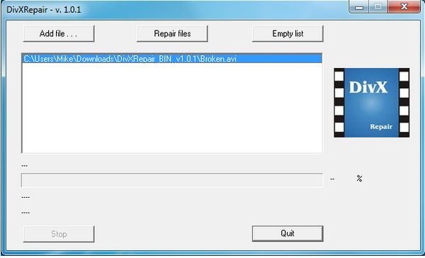 โปรแกรมซ่อมไฟล์วีดีโอ DivXRepair
