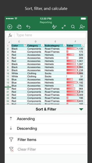 แอป Microsoft Excel
