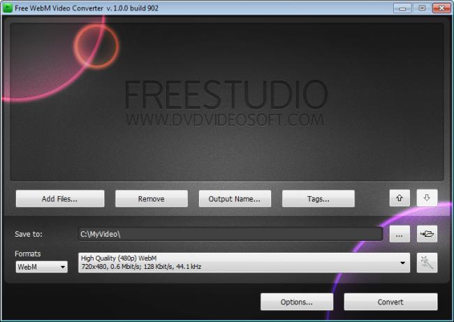 โปรแกรมแปลงไฟล์วีดีโอ Free WebM VideoConverter