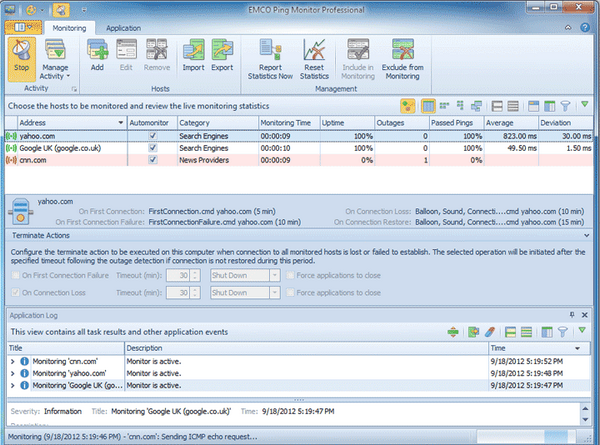 EMCO Ping Monitor (โปรแกรม Ping Monitor ทดสอบปิง ดูความเร็วเน็ตเวิร์ค) :