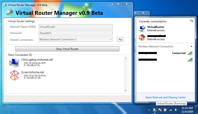 โปรแกรมแชร์ไวไฟ Virtual Router Manager