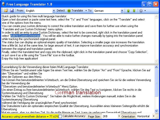โปรแกรมแปลภาษาข้อความ Free Language Translator