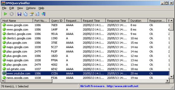 โปรแกรมเน็ตเวิร์ค DNSQuerySniffer