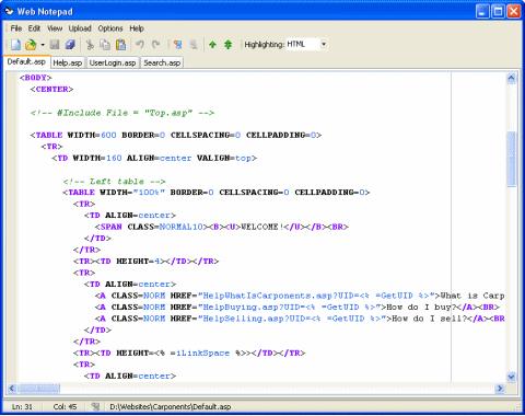 โปรแกรมเขียนเว็บ Web Notepad