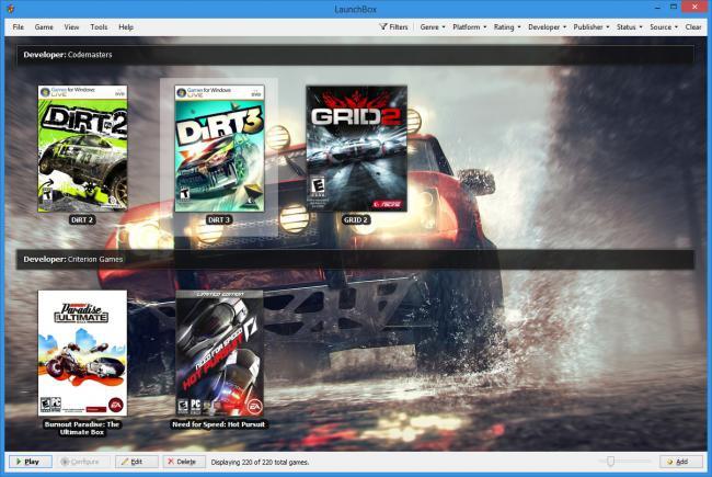 โปรแกรมเปิดเกมส์ เล่นเกมส์ หลาย Platform LaunchBox