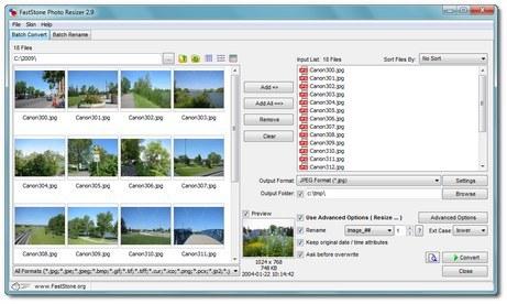 โปรแกรมย่อขยายรูปภาพ FastStone Resizer
