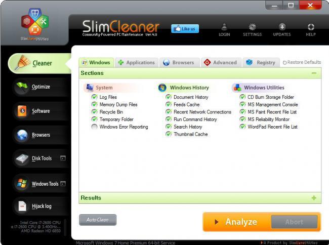 โปรแกรมลบไฟล์ขยะจากคอมพิวเตอร์ SlimCleaner