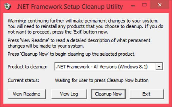 โปรแกรมถอนการติดตั้ง .NET Framework Cleanup Tool
