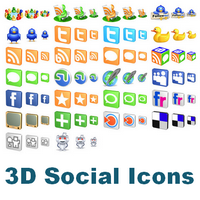 Free 3D Social Icons (รวมไอคอน โซเชียลเน็ตเวิร์ค หลายขนาด) :