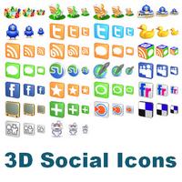 Free 3D Social Icons (รวมไอคอน โซเชียลเน็ตเวิร์ค หลายขนาด)