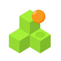 Qubes (App เกมส์ Qubes นำทางลูกบอลสีส้มไม่ให้ตกเหว)