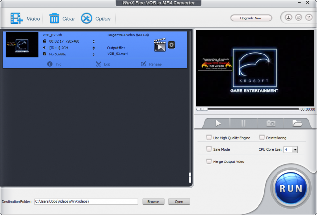 WinX Free VOB to MP4 Converter :