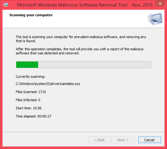 โปรแกรม Microsoft Windows Malicious Software Removal Tool