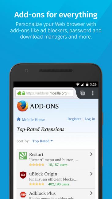 เว็บเบราว์เซอร์ Firefox for Mobile