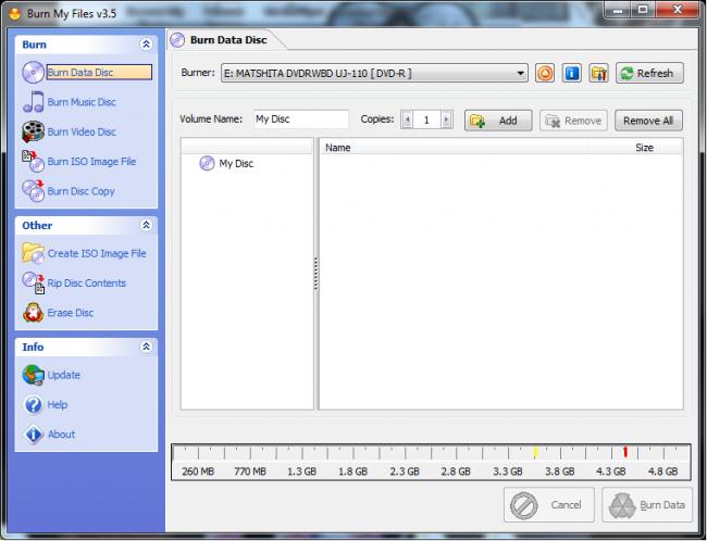 โปรแกรมไรท์แผ่น Burn My Files