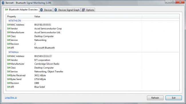 โปรแกรมบลูทูธ Bennett Bluetooth Monitor